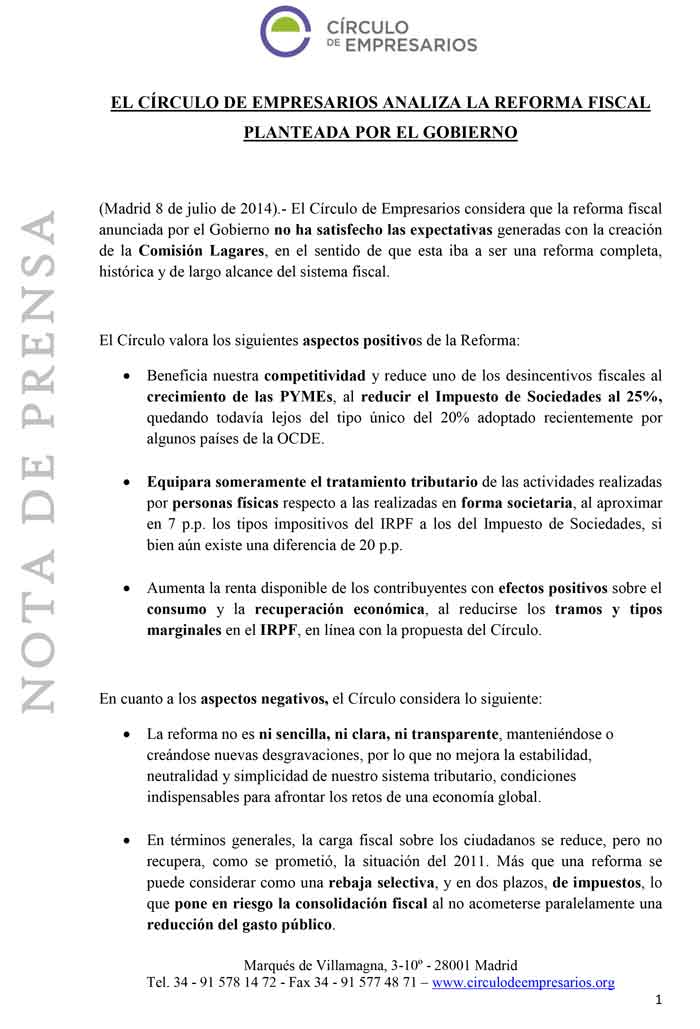 """Círculo de Empresarios: """"La reforma fiscal no mejora la estabilidad, neutralidad y simplicidad de nuestro sistema tributario"""""""