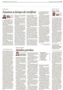 Página del Diario La Provincia con intervención de Agustín Manrique de Lara, miembro del Círculo de Empresarios de Gran Canaria