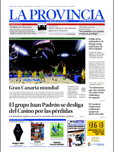 Portada del Diario La Provincia, con el Círculo de Empresarios de Gran Canaria en ella