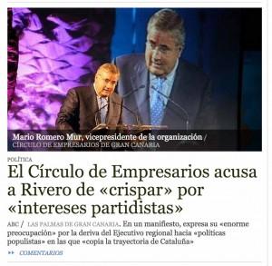 Imagen de la página web del Diario ABC con el Círculo de Empresarios de Gran Canaria.