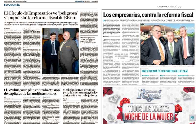 Amplia cobertura de la crítica del Círculo de Empresarios de Gran Canaria a la posible subida fiscal