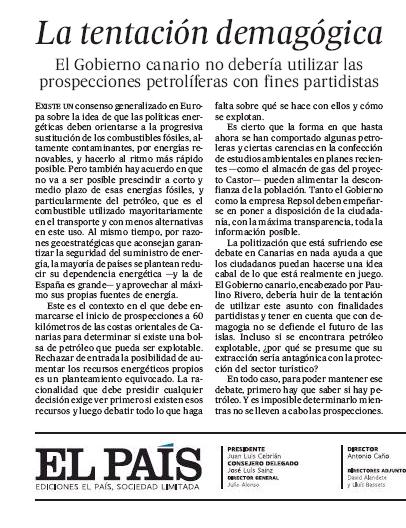 """La """"tentación demagógica"""" del Gobierno canario, en El País"""