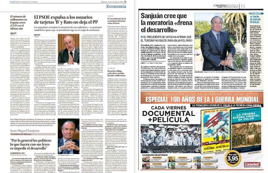 La entrevista Juan Miguel Sanjuán, en La Provincia y Canarias 7
