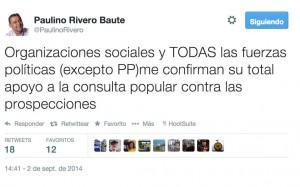 Tweet del presidente Paulino Rivero sobre las prospecciones.