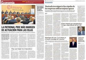 Montaje a partir de dos páginas de La Provincia y Canarias 7 hecho por el Circulo de Empresarios de Gran Canaria