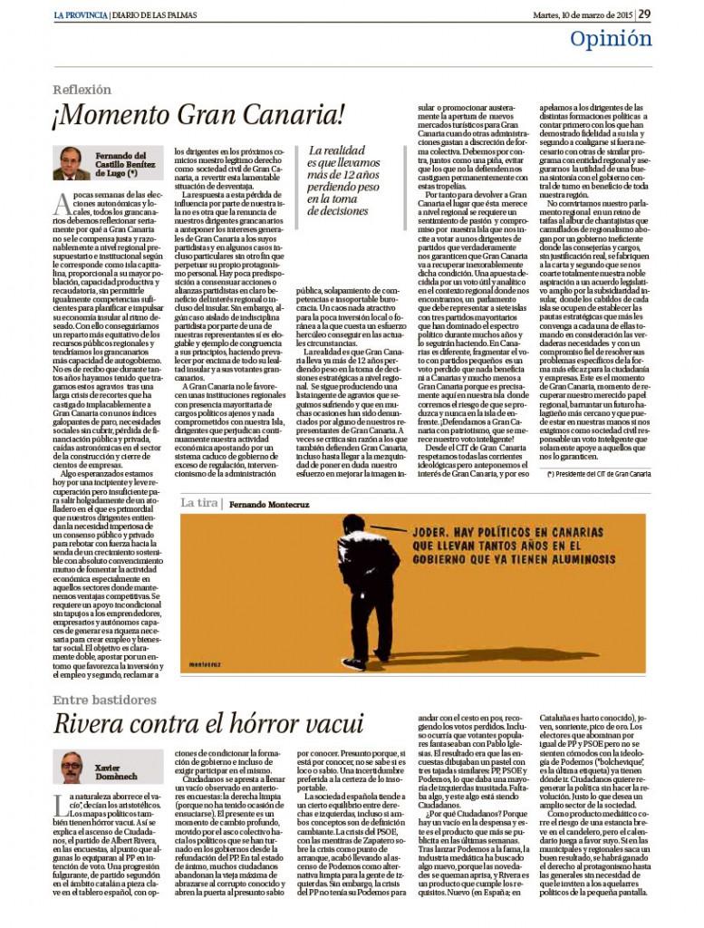 Página del diario la Provincia, Artículo Fernando del Castillo, Círculo de Empresarios de Gran Canaria